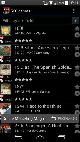 Screenshot der App auf dem Smartphone LG G3