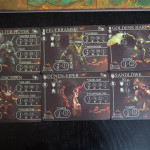 Die 6 Golemkarten , je 3 von Gudanna und Durani