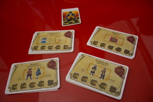 Prototyp: Ein Auftrag geht noch... Erweiterung für Port Royal. Hier siehst du 4 der neuen Auftragskarten.