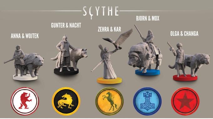 Die einzigartigen Charaktere in Scythe - jeweils mit einem tierischen begleiter