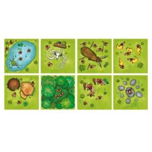 Die Grafiken der Plättchen von Sapiens. Jedes Plättchen besteht aus 2 solcher Teile.