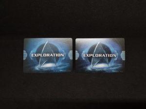 Explorationcards. Links: Grundspiel. Rechts: Erweiterung