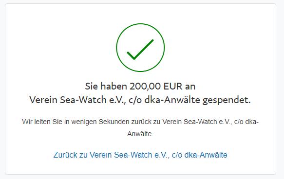 Spende für Sea-Watch aufgerundet auf 200€