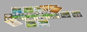Karten und Spielertableau von Newdale